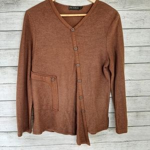Picadilly Brown Assymetrical Knit long sleeve